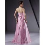 Floor-length Taffeta Bridesmaid Dress - Blushing Pink Plus Sizes / Petite A-line / Princess Strapless Special Occasion Dresses