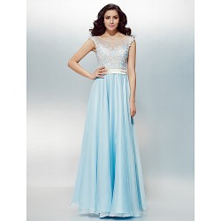 Formal Evening Dress - Sky Blue Plus Sizes / Petite A-line / Princess Scoop Floor-length Chiffon