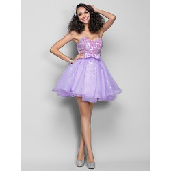 Dress - Lilac Plus Sizes / Petite A-line Sweetheart Short/Mini Organza / Sequined