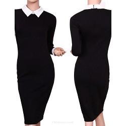 Cocktail Party Dress Black Sheath Column High Neck Knee Length Polyester