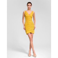 Cocktail Party Dress Gold Sheath Column V Neck Knee Length Polyester