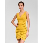 Cocktail Party Dress - Gold Sheath/Column V-neck Knee-length Polyester Celebrity Dresses