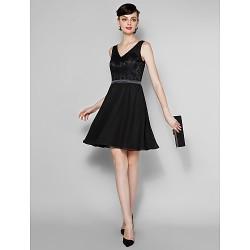 Knee Length Lace Georgette Bridesmaid Dress Black Plus Sizes Petite A Line V Neck