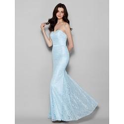 Floor-length Lace Bridesmaid Dress - Sky Blue Plus Sizes / Petite Trumpet/Mermaid Sweetheart