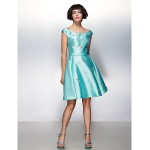 TS Couture Cocktail Party Dress - Jade A-line Scoop Knee-length Satin Special Occasion Dresses