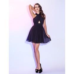 Cocktail Party / Holiday Dress - Black Plus Sizes / Petite A-line Halter Short/Mini Chiffon