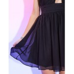 TS Couture Cocktail Party / Holiday Dress - Black Plus Sizes / Petite A-line Halter Short/Mini Chiffon Special Occasion Dresses
