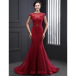 Formal Evening Dress Burgundy Trumpet Mermaid Jewel Court Train Lace Tulle