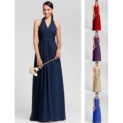 Floor Length Chiffon Bridesmaid Dress Ruby Grape Royal Blue Champagne Dark Navy Plus Sizes Petite Sheath ColumnHalter