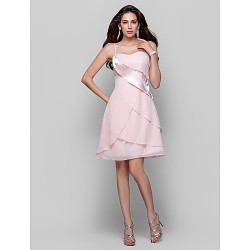 Cocktail Party /  Dress - Pearl Pink Plus Sizes / Petite A-line / Princess Spaghetti Straps Short/Mini Chiffon / Stretch Satin