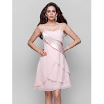TS Couture Cocktail Party / Dress - Pearl Pink Plus Sizes / Petite A-line / Princess Spaghetti Straps Short/Mini Chiffon / Stretch Satin Special Occasion Dresses