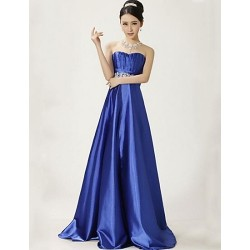 Formal Evening Dress Royal Blue Plus Sizes A Line Sweetheart Floor Length Stretch Satin