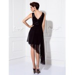Cocktail Party / Prom Dress - Black Plus Sizes / Petite Sheath/Column Scoop Knee-length Chiffon / Stretch Satin Celebrity Dresses