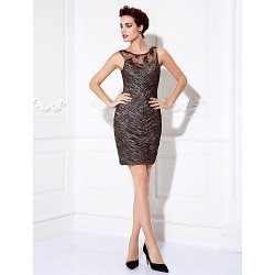 Cocktail Party / Prom Dress - Multi-color Plus Sizes / Petite Sheath/Column Jewel Short/Mini Stretch Satin