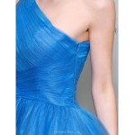 TS Couture / Cocktail Party / Prom Dress - Ocean Blue Plus Sizes / Petite A-line One Shoulder Knee-length Tulle Special Occasion Dresses