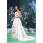 A-line Formal Evening Dress - White Court Train Strapless Organza / Satin Special Occasion Dresses