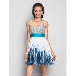 Cocktail Party / Homecoming / Prom / Sweet 16 Dress - Print Plus Sizes / Petite A-line / Princess Straps Short/Mini Chiffon / Sequined Special Occasion Dresses