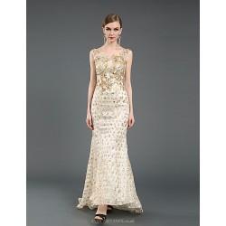 Formal Evening Dress Champagne Sheath Column Scoop Chapel Train Linen Tulle Knit
