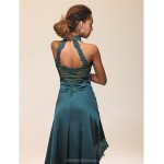 TS Couture Cocktail Party Dress - Ink Blue Plus Sizes / Petite Sheath/Column Halter / High Neck Floor-length / AsymmetricalStretch Satin / Satin Special Occasion Dresses