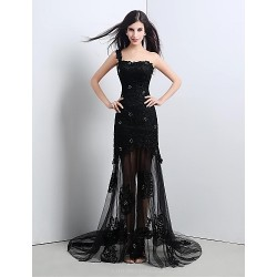 Formal Evening Dress - Black Petite A-line One Shoulder Sweep/Brush Train Lace
