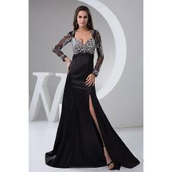 Formal Evening Dress Black Petite A Line Square Floor Length Satin Tulle