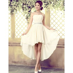 Asymmetrical Tulle Bridesmaid Dress Ivory A Line Strapless