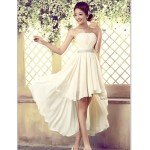 Asymmetrical Tulle Bridesmaid Dress - Ivory A-line Strapless Special Occasion Dresses