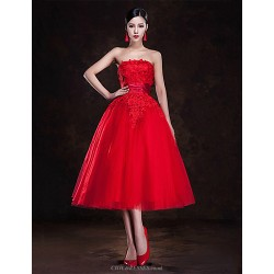 Cocktail Party Dress Ruby Plus Sizes A Line Strapless Tea Length Tulle