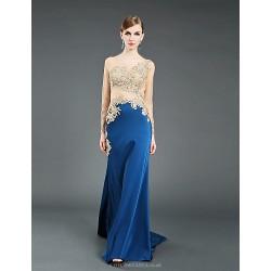 Formal Evening Dress Pool Ball Gown Jewel Chapel Train Tulle Stretch Satin Knitwear