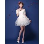 Cocktail Party Dress - Burgundy / Ivory Plus Sizes A-line Off-the-shoulder Short/Mini Tulle Celebrity Dresses