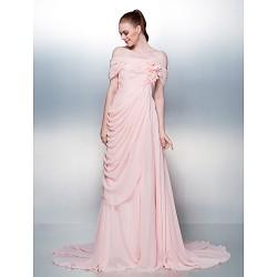 Dress Candy Pink Plus Sizes Petite A Line Off The Shoulder Court Train Chiffon