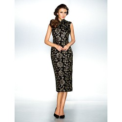Cocktail Party / Holiday Dress - Black Plus Sizes / Petite A-line / Princess High Neck Ankle-length Sequined