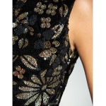 TS Couture Cocktail Party / Holiday Dress - Black Plus Sizes / Petite A-line / Princess High Neck Ankle-length Sequined Special Occasion Dresses