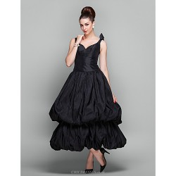 Cocktail Party Holiday Prom Dress Black Plus Sizes Petite Ball Gown V Neck Ankle Length Taffeta