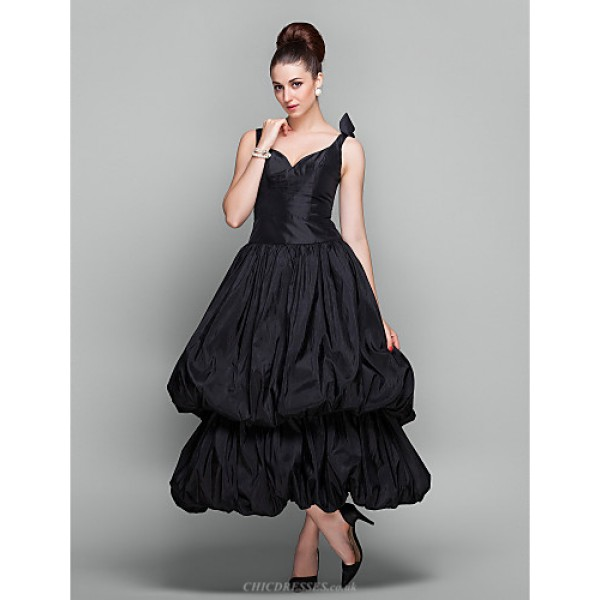 TS Couture Cocktail Party / Holiday / Prom Dress - Black Plus Sizes / Petite Ball Gown V-neck Ankle-length Taffeta Special Occasion Dresses
