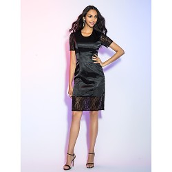 Cocktail Party Holiday Dress Black Plus Sizes Petite Sheath Column Jewel Knee Length Satin Chiffon Lace