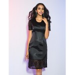 Cocktail Party / Holiday Dress - Black Plus Sizes / Petite Sheath/Column Jewel Knee-length Satin Chiffon / Lace Special Occasion Dresses