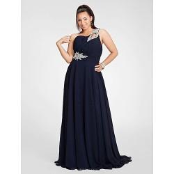 Formal Evening Prom Military Ball Dress Dark Navy Plus Sizes Petite Sheath Column One Shoulder Floor Length Chiffon