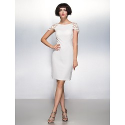 Cocktail Party Dress Ivory Sheath Column Scoop Knee Length Chiffon