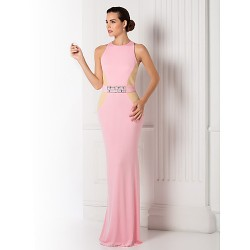 Formal Evening / Prom / Military Ball Dress - Candy Pink Plus Sizes / Petite Trumpet/Mermaid Jewel Floor-length Jersey