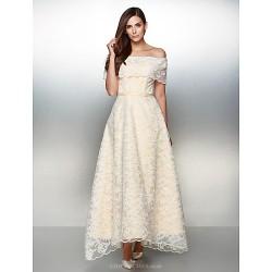 Formal Evening Dress Ivory A Line Off The Shoulder Ankle Length Lace