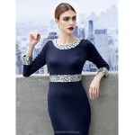 TS Couture Formal Evening Dress - Dark Navy Sheath/Column Scoop Sweep/Brush Train Jersey Special Occasion Dresses