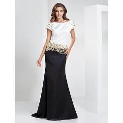 Formal Evening / Military Ball Dress - Multi-color Plus Sizes / Petite Trumpet/Mermaid Bateau Floor-length Satin
