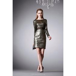 Cocktail Party Dress Brown A Line Jewel Short Mini Satin