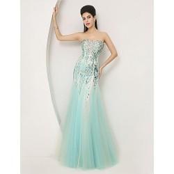 Formal Evening Dress Sky Blue Trumpet Mermaid Sweetheart Floor Length Tulle