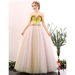 Formal Evening Dress Multi Color A Line Sweetheart Floor Length Satin Tulle
