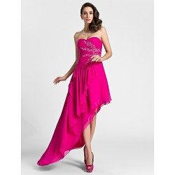 Cocktail Party / Formal Evening Dress - Fuchsia Plus Sizes / Petite A-line Sweetheart Knee-length / Asymmetrical Chiffon