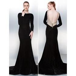 Prom / Formal Evening Dress - Black Plus Sizes / Petite Trumpet/Mermaid Bateau Chapel Train Velvet