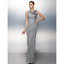 Formal Evening Dress - Silver Plus Sizes / Petite Sheath/Column Jewel Floor-length Jersey