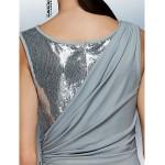 Formal Evening Dress - Silver Plus Sizes / Petite Sheath/Column Jewel Floor-length Jersey Special Occasion Dresses